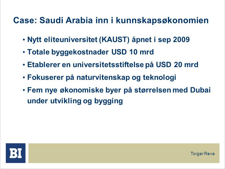 Torger Reve Case: Saudi Arabia inn i kunnskapsøkonomien Nytt eliteuniversitet (KAUST) åpnet i sep 2009 Totale byggekostnader USD 10 mrd Etablerer en universitetsstiftelse på USD 20 mrd Fokuserer på naturvitenskap og teknologi Fem nye økonomiske byer på størrelsen med Dubai under utvikling og bygging