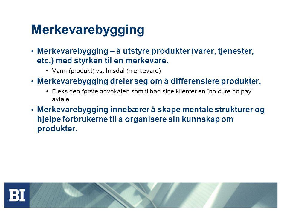 Merkevarers ulike roller forts. Signalisere kvalitet Skape etableringshindringer Være et konkurransefortrinn Sikrer prispremie