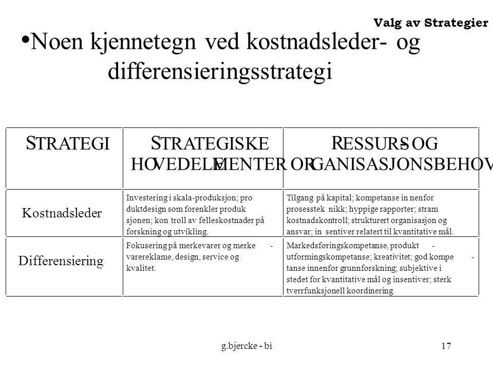 g.bjercke - bi17 Noen kjennetegn ved kostnadsleder- og differensieringsstrategi Valg av Strategier S TRATEGI S TRATEGISKE HOVEDELEMENTER R ESSURS - OG ORGANISASJONSBEHOV Kostnadsleder Investering i skala-produksjon; pro duktdesign som forenkler produk sjonen; kontroll av felleskostnader på forskning og utvikling.