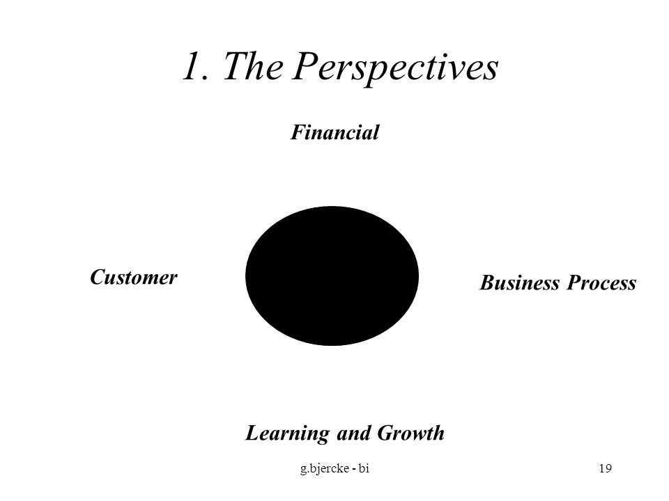 g.bjercke - bi19 1. The Perspectives Financial Customer Business Process Learning and Growth