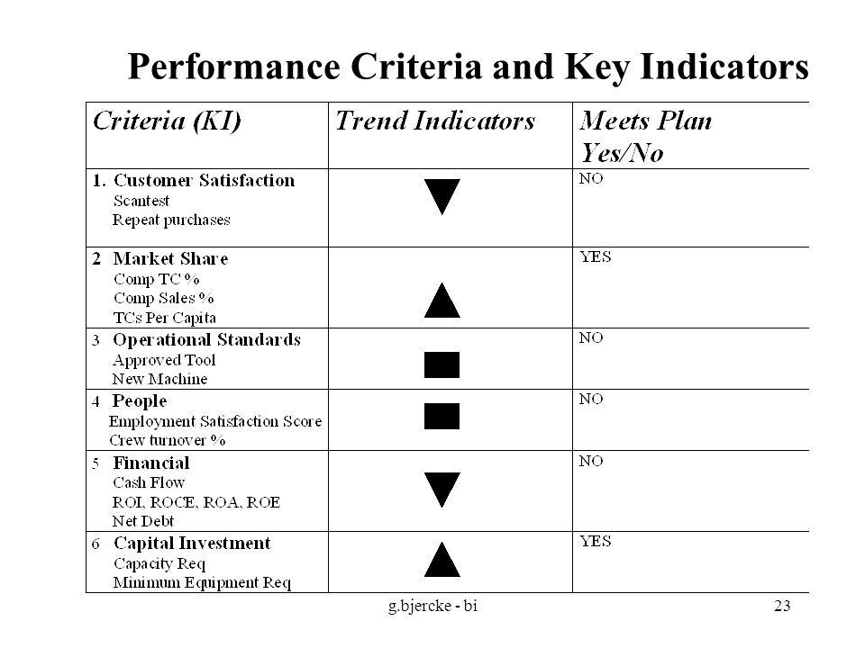 g.bjercke - bi23 Performance Criteria and Key Indicators