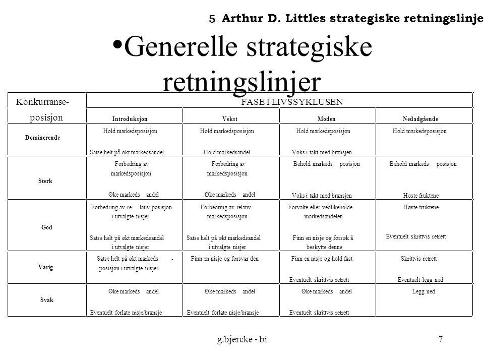 g.bjercke - bi8 Strategiske veivalg Rask inntrengning Ekspansjon Fortsatt vekst Ingen vekst Konsolidering Legge ned/selge ut Produkt- markedsstrategier