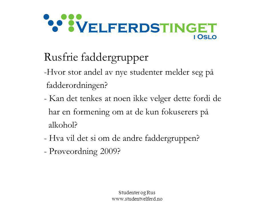 Studenter og Rus www.studentvelferd.no Rusfrie faddergrupper -Hvor stor andel av nye studenter melder seg på fadderordningen.