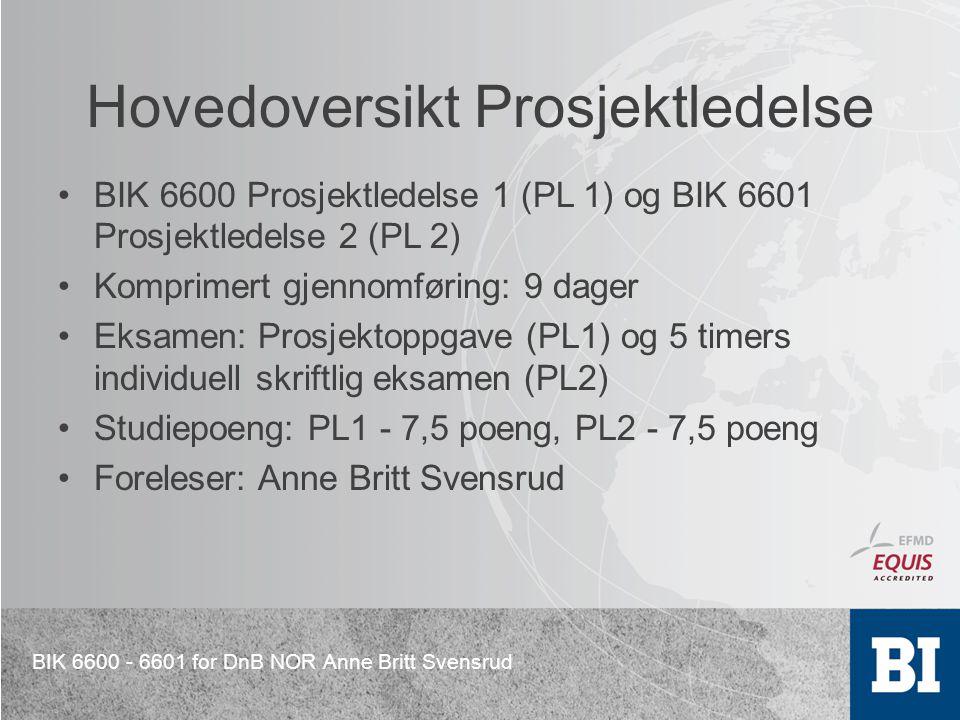 BIK 6600 - 6601 for DnB NOR Anne Britt Svensrud Hovedoversikt Prosjektledelse BIK 6600 Prosjektledelse 1 (PL 1) og BIK 6601 Prosjektledelse 2 (PL 2) K