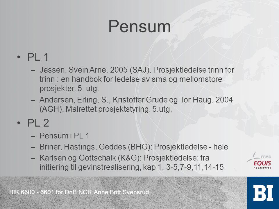 BIK 6600 - 6601 for DnB NOR Anne Britt Svensrud Pensum PL 1 –Jessen, Svein Arne. 2005 (SAJ). Prosjektledelse trinn for trinn : en håndbok for ledelse