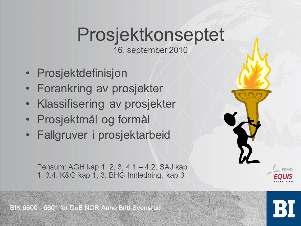 BIK 6600 - 6601 for DnB NOR Anne Britt Svensrud Prosjektkonseptet 16. september 2010 Prosjektdefinisjon Forankring av prosjekter Klassifisering av pro