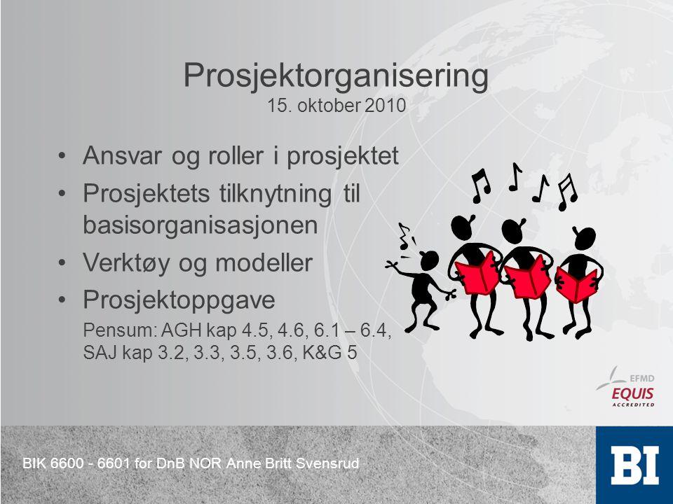 BIK 6600 - 6601 for DnB NOR Anne Britt Svensrud Prosjektorganisering 15. oktober 2010 Ansvar og roller i prosjektet Prosjektets tilknytning til basiso