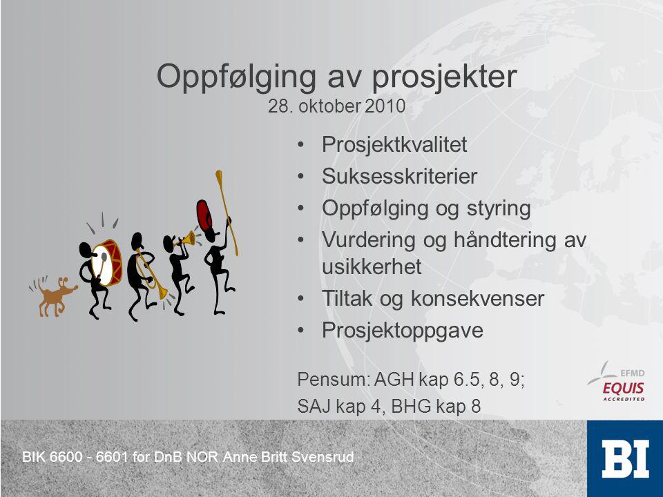 BIK 6600 - 6601 for DnB NOR Anne Britt Svensrud Oppfølging av prosjekter 28. oktober 2010 Prosjektkvalitet Suksesskriterier Oppfølging og styring Vurd