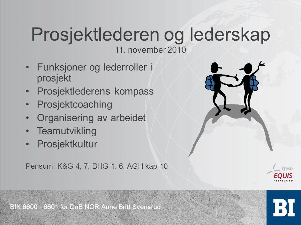 BIK 6600 - 6601 for DnB NOR Anne Britt Svensrud Prosjektlederen og lederskap 11. november 2010 Funksjoner og lederroller i prosjekt Prosjektlederens k