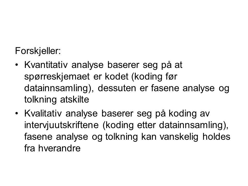 Forskjeller: Kvantitativ analyse baserer seg på at spørreskjemaet er kodet (koding før datainnsamling), dessuten er fasene analyse og tolkning atskilt