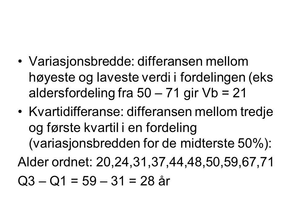 Variasjonsbredde: differansen mellom høyeste og laveste verdi i fordelingen (eks aldersfordeling fra 50 – 71 gir Vb = 21 Kvartidifferanse: differansen mellom tredje og første kvartil i en fordeling (variasjonsbredden for de midterste 50%): Alder ordnet: 20,24,31,37,44,48,50,59,67,71 Q3 – Q1 = 59 – 31 = 28 år