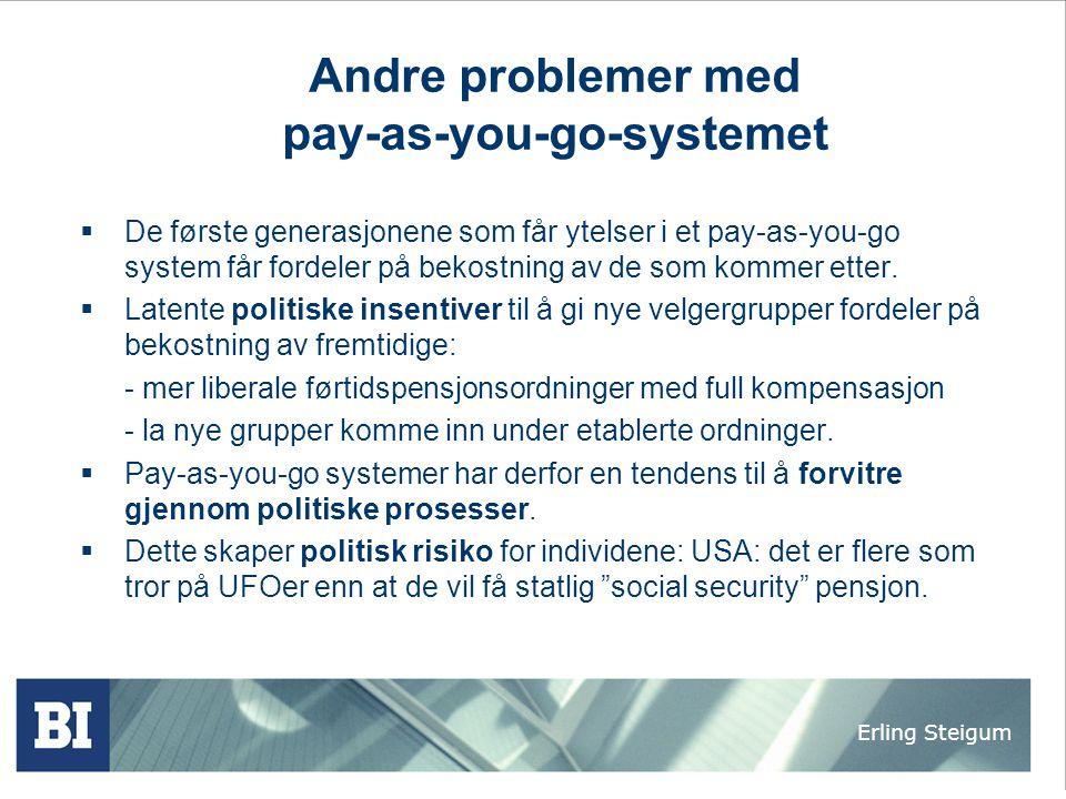 Erling Steigum Andre problemer med pay-as-you-go-systemet  De første generasjonene som får ytelser i et pay-as-you-go system får fordeler på bekostni