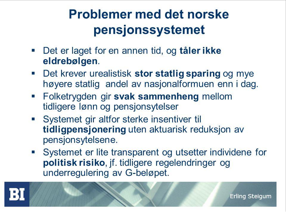 Erling Steigum Problemer med det norske pensjonssystemet  Det er laget for en annen tid, og tåler ikke eldrebølgen.  Det krever urealistisk stor sta
