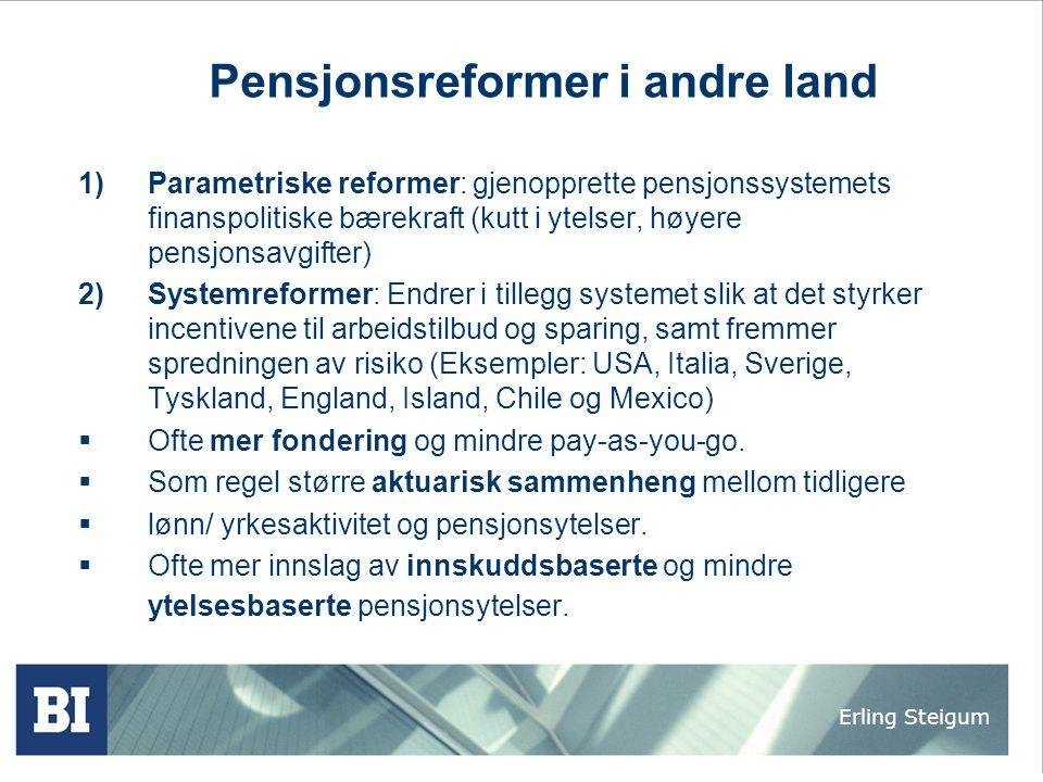 Erling Steigum Pensjonsreformer i andre land 1)Parametriske reformer: gjenopprette pensjonssystemets finanspolitiske bærekraft (kutt i ytelser, høyere