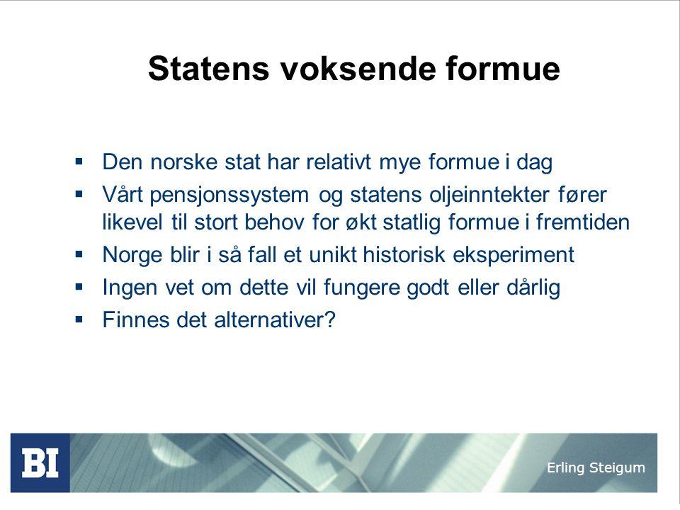 Erling Steigum Statens voksende formue  Den norske stat har relativt mye formue i dag  Vårt pensjonssystem og statens oljeinntekter fører likevel ti