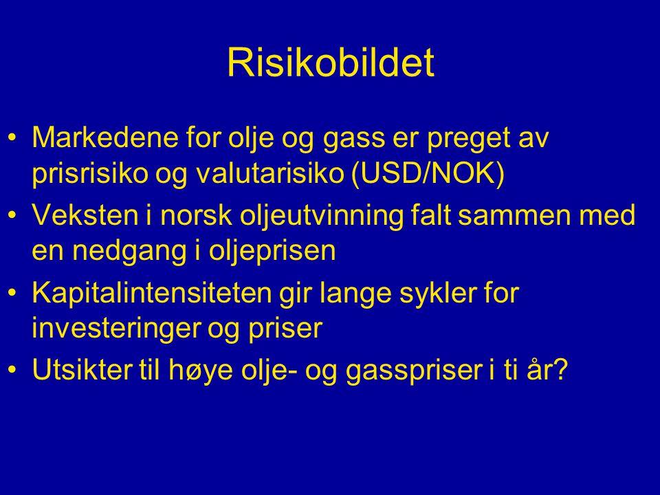 Risikobildet Markedene for olje og gass er preget av prisrisiko og valutarisiko (USD/NOK) Veksten i norsk oljeutvinning falt sammen med en nedgang i oljeprisen Kapitalintensiteten gir lange sykler for investeringer og priser Utsikter til høye olje- og gasspriser i ti år?