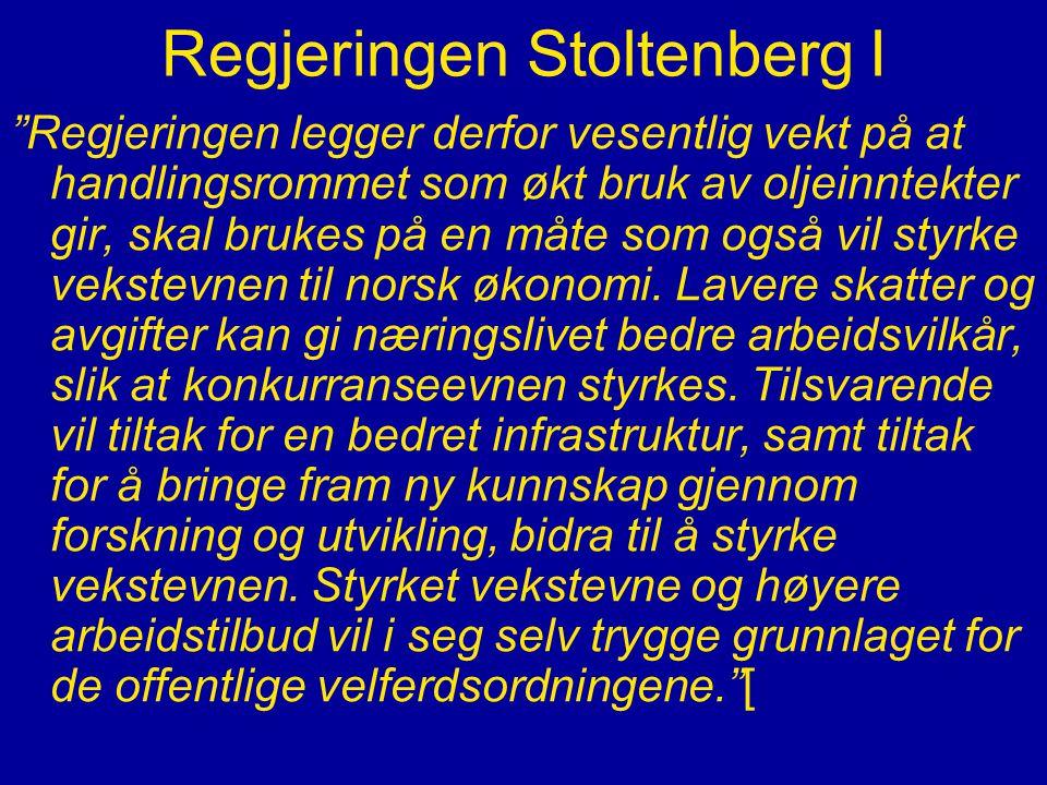 """Regjeringen Stoltenberg I """"Regjeringen legger derfor vesentlig vekt på at handlingsrommet som økt bruk av oljeinntekter gir, skal brukes på en måte so"""