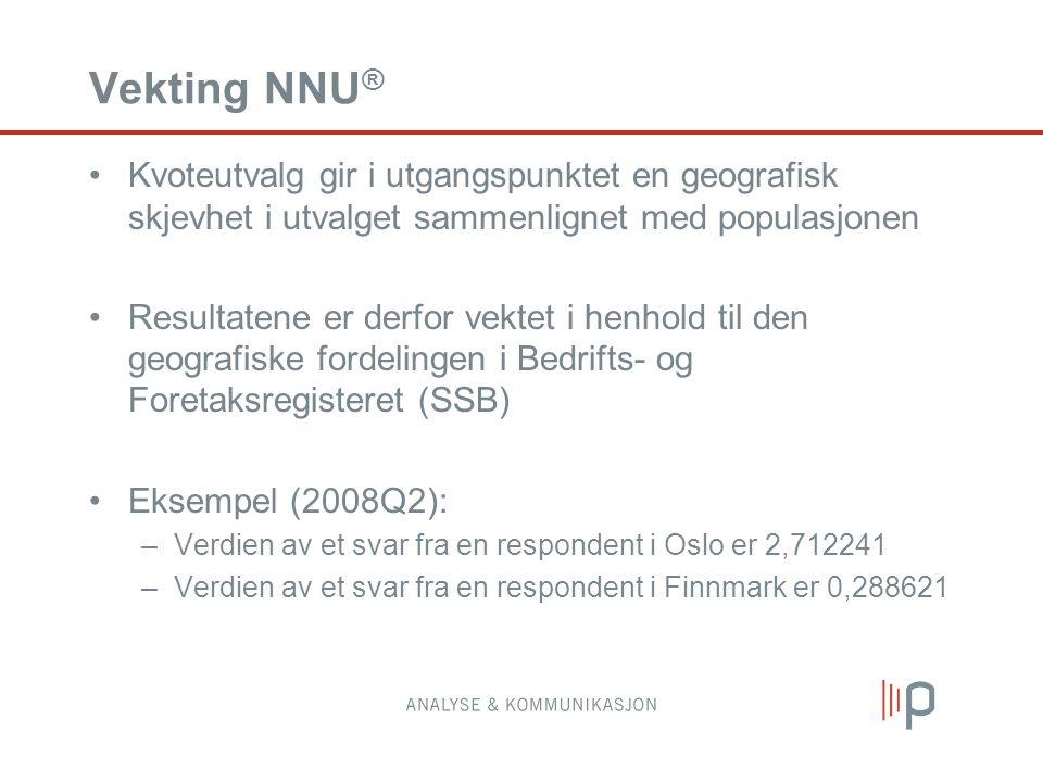 Vekting NNU ® Kvoteutvalg gir i utgangspunktet en geografisk skjevhet i utvalget sammenlignet med populasjonen Resultatene er derfor vektet i henhold til den geografiske fordelingen i Bedrifts- og Foretaksregisteret (SSB) Eksempel (2008Q2): –Verdien av et svar fra en respondent i Oslo er 2,712241 –Verdien av et svar fra en respondent i Finnmark er 0,288621