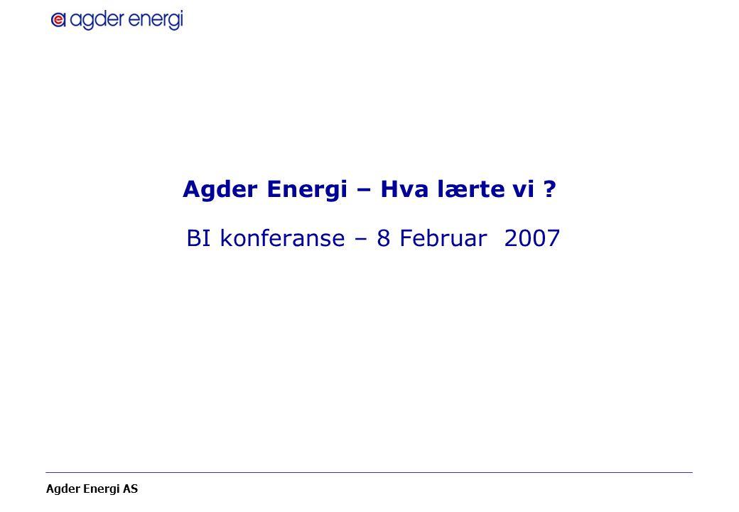 Agder Energi AS Agder Energi – Hva lærte vi ? BI konferanse – 8 Februar 2007