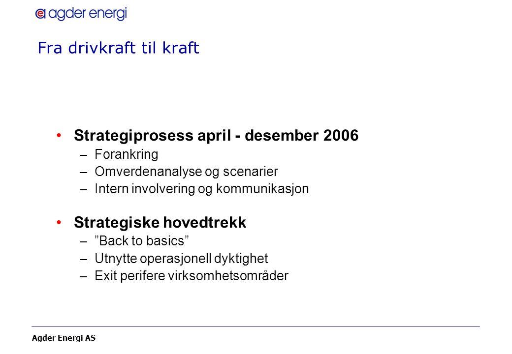 Agder Energi AS Fra drivkraft til kraft Strategiprosess april - desember 2006 –Forankring –Omverdenanalyse og scenarier –Intern involvering og kommuni