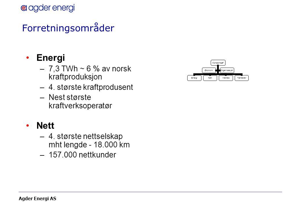 Agder Energi AS Forretningsområder Energi –7,3 TWh ~ 6 % av norsk kraftproduksjon –4. største kraftprodusent –Nest største kraftverksoperatør Nett –4.