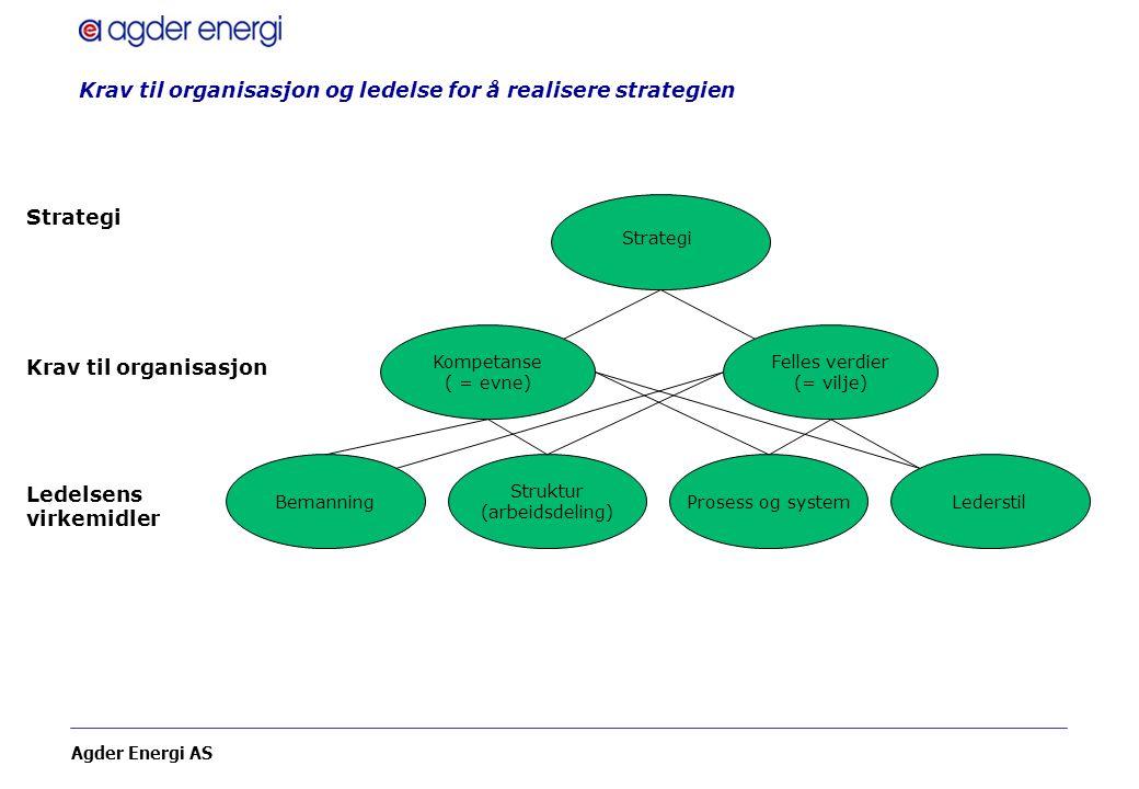 Agder Energi AS Krav til organisasjon og ledelse for å realisere strategien Strategi Bemanning Struktur (arbeidsdeling) Prosess og systemLederstil Fel