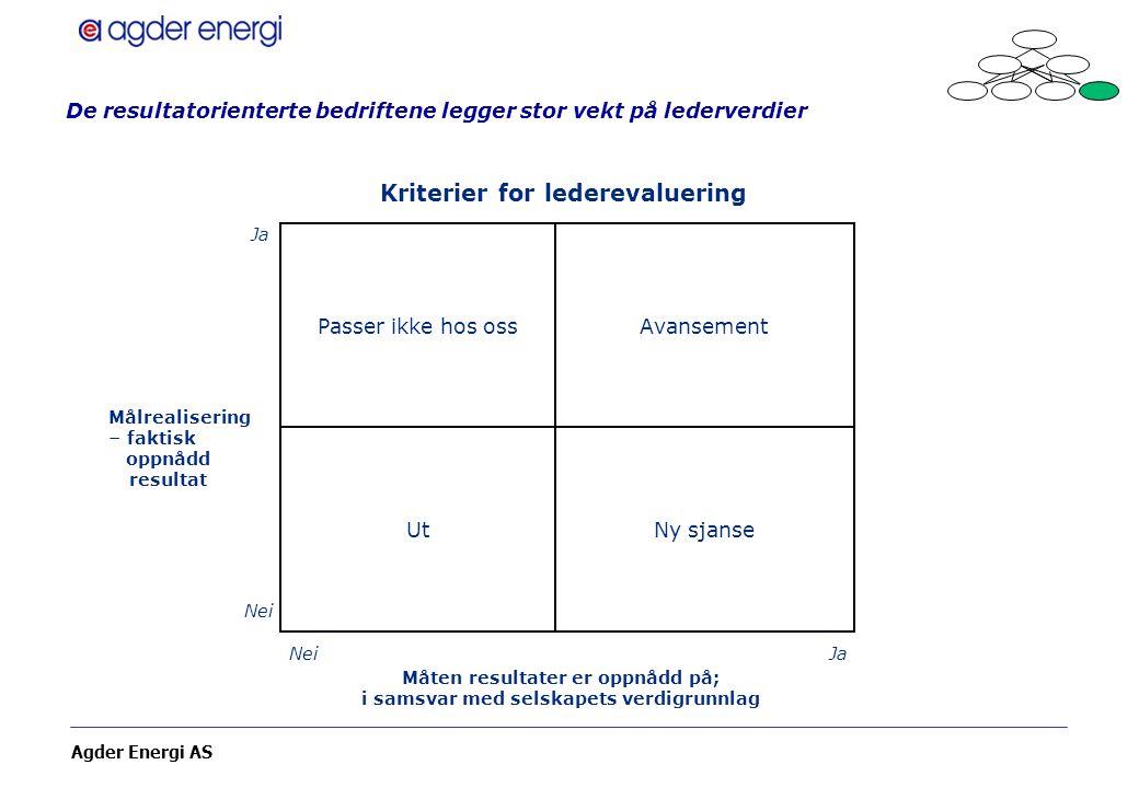 Agder Energi AS De resultatorienterte bedriftene legger stor vekt på lederverdier Passer ikke hos oss Ut Avansement Ny sjanse Ja Nei Ja Målrealisering