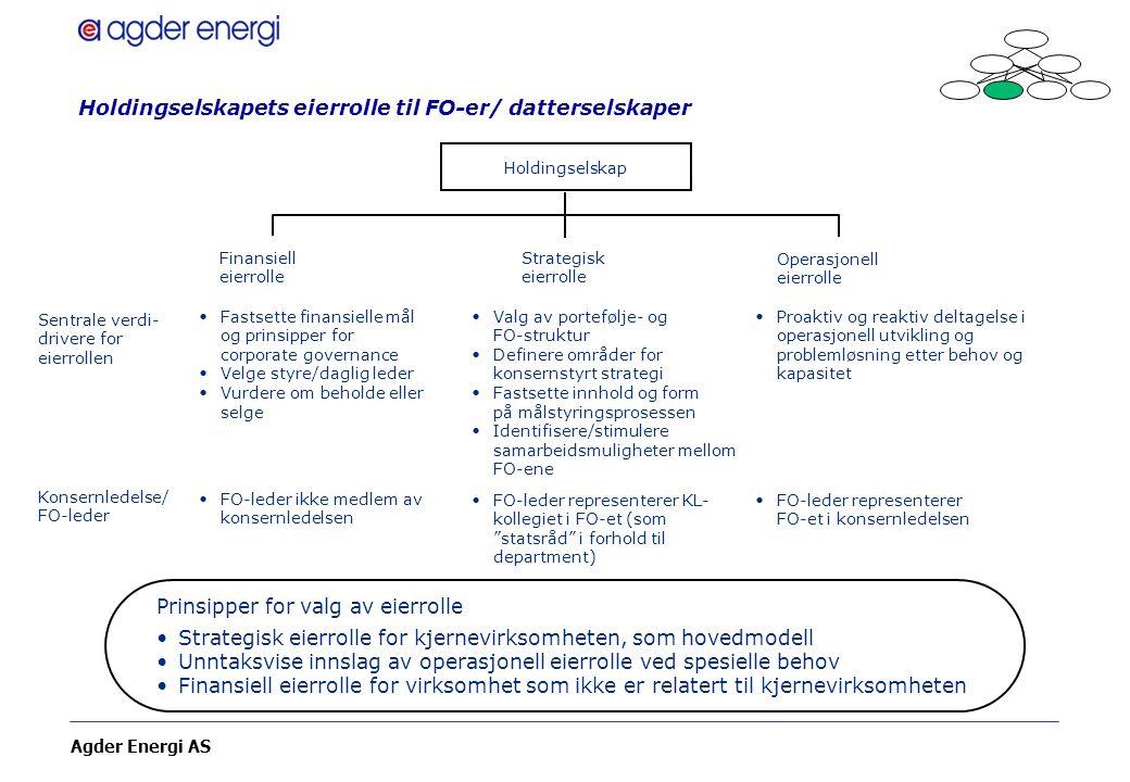 Agder Energi AS Holdingselskapets eierrolle til FO-er/ datterselskaper Holdingselskap Sentrale verdi- drivere for eierrollen Konsernledelse/ FO-leder