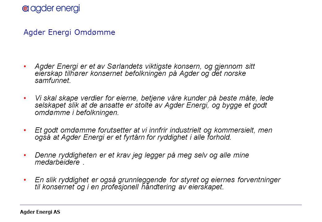Agder Energi AS Agder Energi Omdømme Agder Energi er et av Sørlandets viktigste konsern, og gjennom sitt eierskap tilhører konsernet befolkningen på A