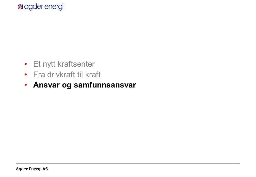 Agder Energi AS Et nytt kraftsenter Fra drivkraft til kraft Ansvar og samfunnsansvar