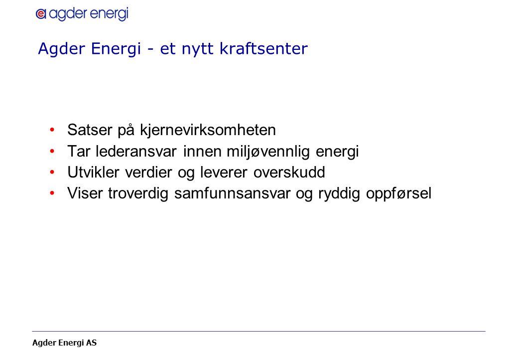 Agder Energi AS Agder Energi - et nytt kraftsenter Satser på kjernevirksomheten Tar lederansvar innen miljøvennlig energi Utvikler verdier og leverer