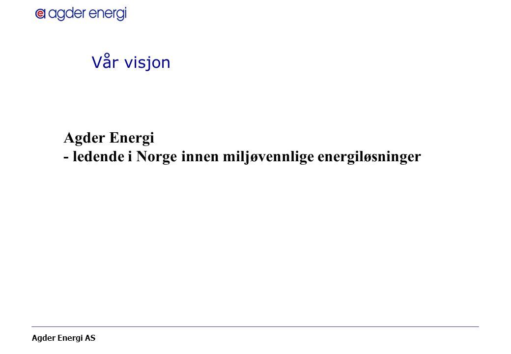 Agder Energi AS Vår visjon Agder Energi - ledende i Norge innen miljøvennlige energiløsninger
