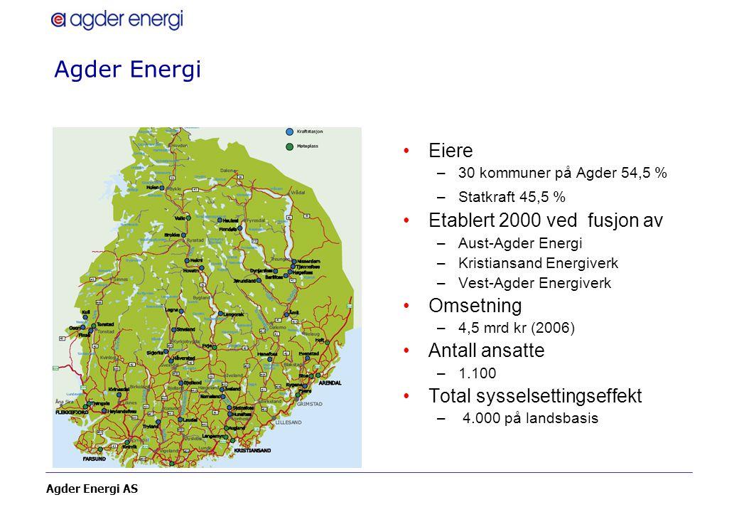 Agder Energi AS Agder Energi Eiere –30 kommuner på Agder 54,5 % –Statkraft 45,5 % Etablert 2000 ved fusjon av –Aust-Agder Energi –Kristiansand Energiv