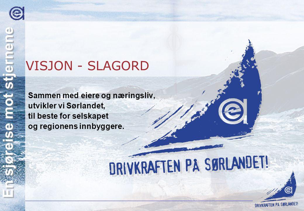 Agder Energi AS En sjøreise mot stjernene VISJON - SLAGORD Sammen med eiere og næringsliv, utvikler vi Sørlandet, til beste for selskapet og regionens
