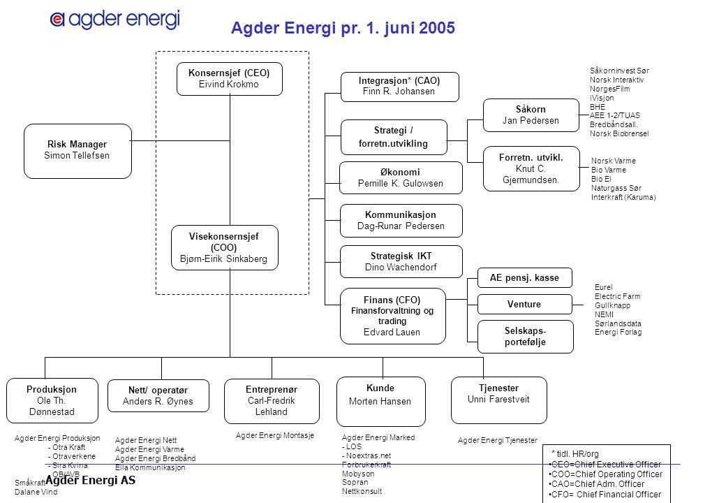 Agder Energi AS Agder Energi- Et ledende konsern i Norge innen miljøvennlig energiløsninger