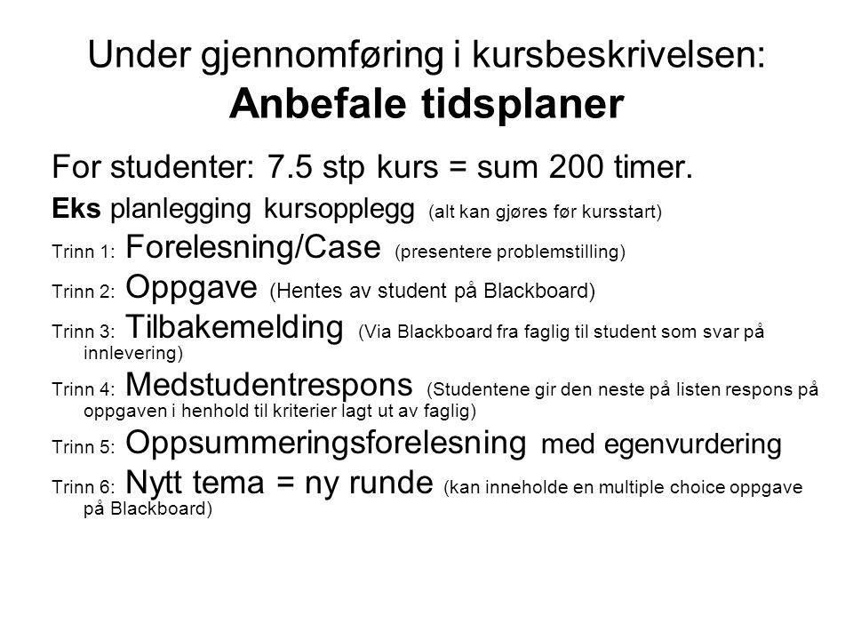 Under gjennomføring i kursbeskrivelsen: Anbefale tidsplaner For studenter: 7.5 stp kurs = sum 200 timer. Eks planlegging kursopplegg (alt kan gjøres f