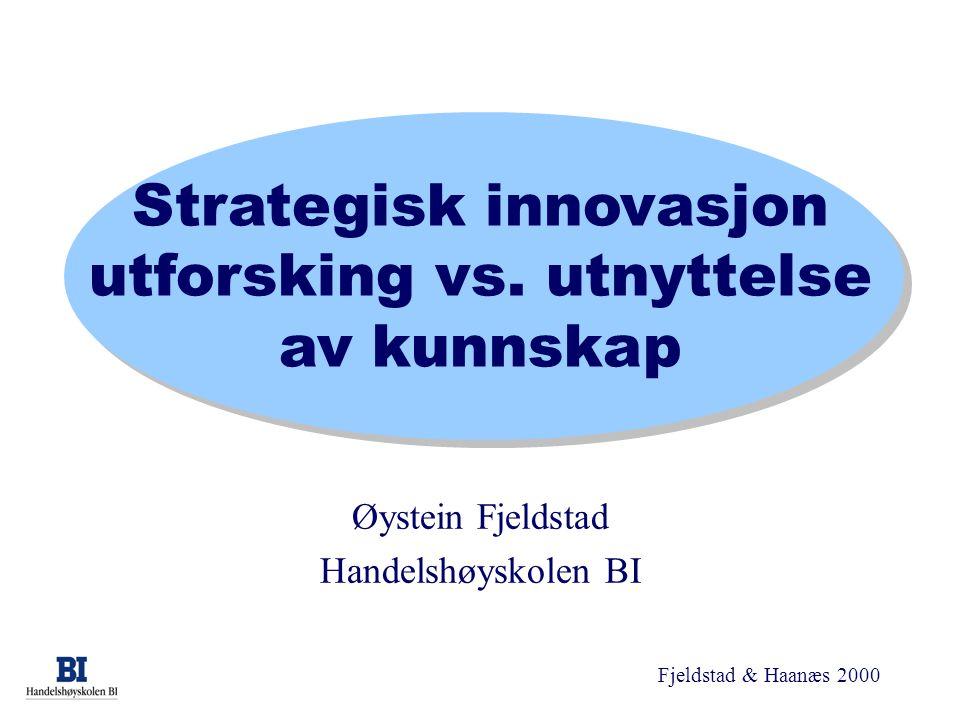 Fjeldstad & Haanæs 2000 Strategisk innovasjon utforsking vs. utnyttelse av kunnskap Øystein Fjeldstad Handelshøyskolen BI