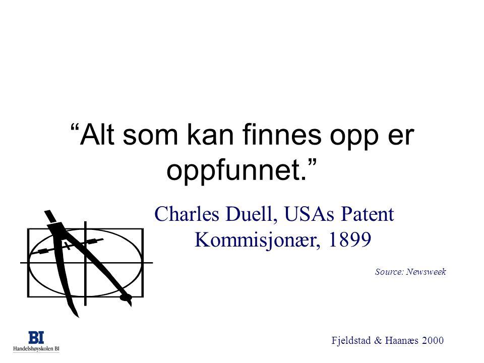 """Fjeldstad & Haanæs 2000 """"Alt som kan finnes opp er oppfunnet."""" Charles Duell, USAs Patent Kommisjonær, 1899 Source: Newsweek"""