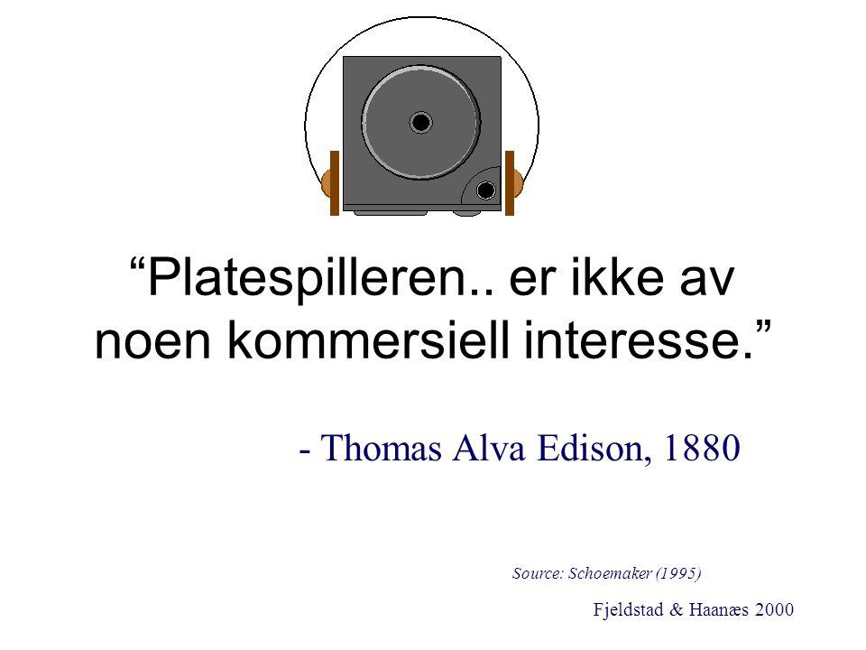 """Fjeldstad & Haanæs 2000 """"Platespilleren.. er ikke av noen kommersiell interesse."""" - Thomas Alva Edison, 1880 Source: Schoemaker (1995)"""