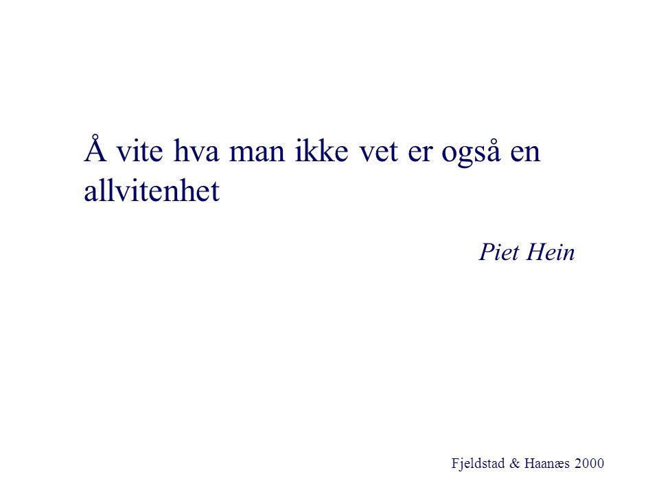 Fjeldstad & Haanæs 2000 Å vite hva man ikke vet er også en allvitenhet Piet Hein