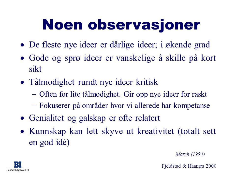 Fjeldstad & Haanæs 2000 Noen observasjoner  De fleste nye ideer er dårlige ideer; i økende grad  Gode og sprø ideer er vanskelige å skille på kort s