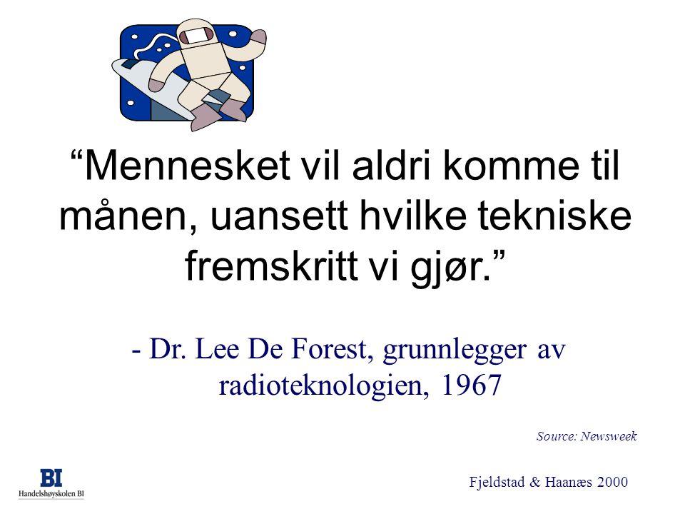 """Fjeldstad & Haanæs 2000 """"Mennesket vil aldri komme til månen, uansett hvilke tekniske fremskritt vi gjør."""" - Dr. Lee De Forest, grunnlegger av radiote"""