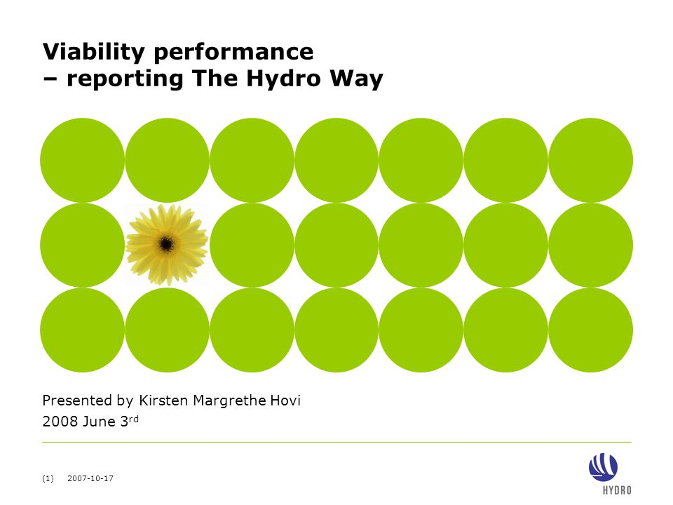 (1) 2007-10-17 Viability performance – reporting The Hydro Way Presented by Kirsten Margrethe Hovi 2008 June 3 rd