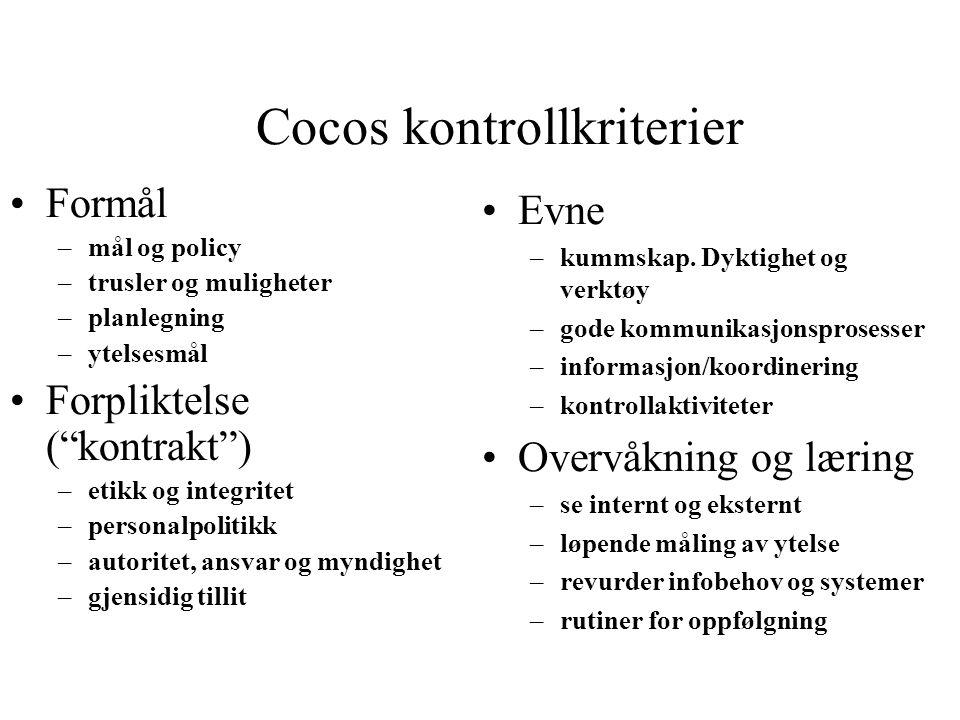 """Cocos kontrollkriterier Formål –mål og policy –trusler og muligheter –planlegning –ytelsesmål Forpliktelse (""""kontrakt"""") –etikk og integritet –personal"""