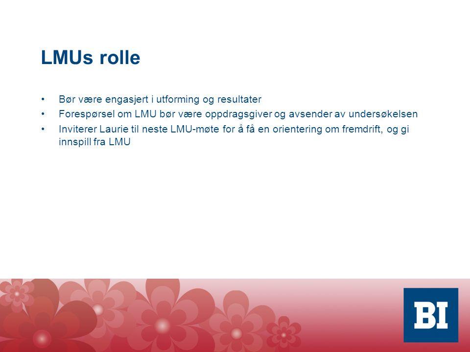 LMUs rolle Bør være engasjert i utforming og resultater Forespørsel om LMU bør være oppdragsgiver og avsender av undersøkelsen Inviterer Laurie til neste LMU-møte for å få en orientering om fremdrift, og gi innspill fra LMU