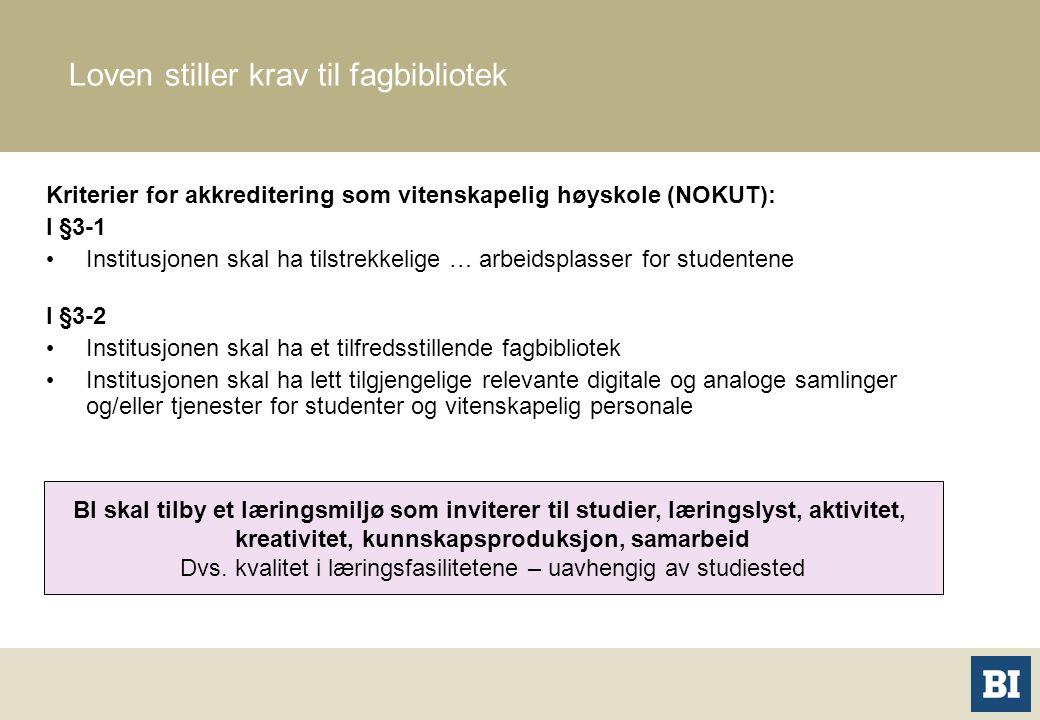 Kriterier for akkreditering som vitenskapelig høyskole (NOKUT): I §3-1 Institusjonen skal ha tilstrekkelige … arbeidsplasser for studentene I §3-2 Ins