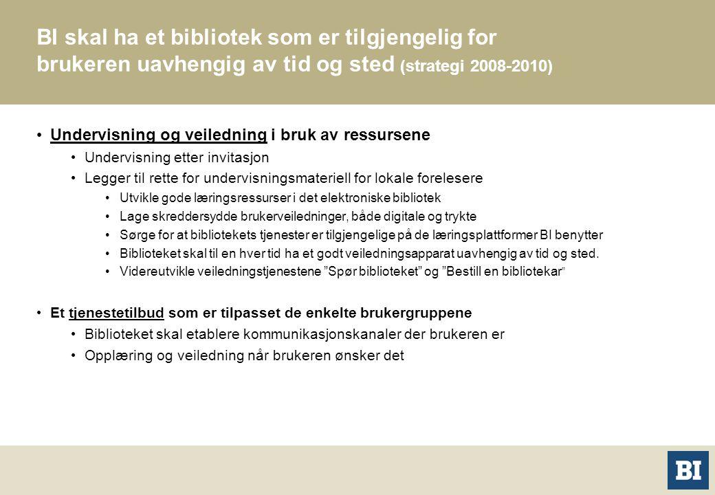 BI skal ha et bibliotek som er tilgjengelig for brukeren uavhengig av tid og sted (strategi 2008-2010) Undervisning og veiledning i bruk av ressursene