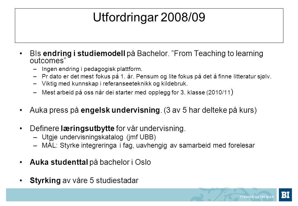Utfordringar 2008/09 BIs endring i studiemodell på Bachelor.