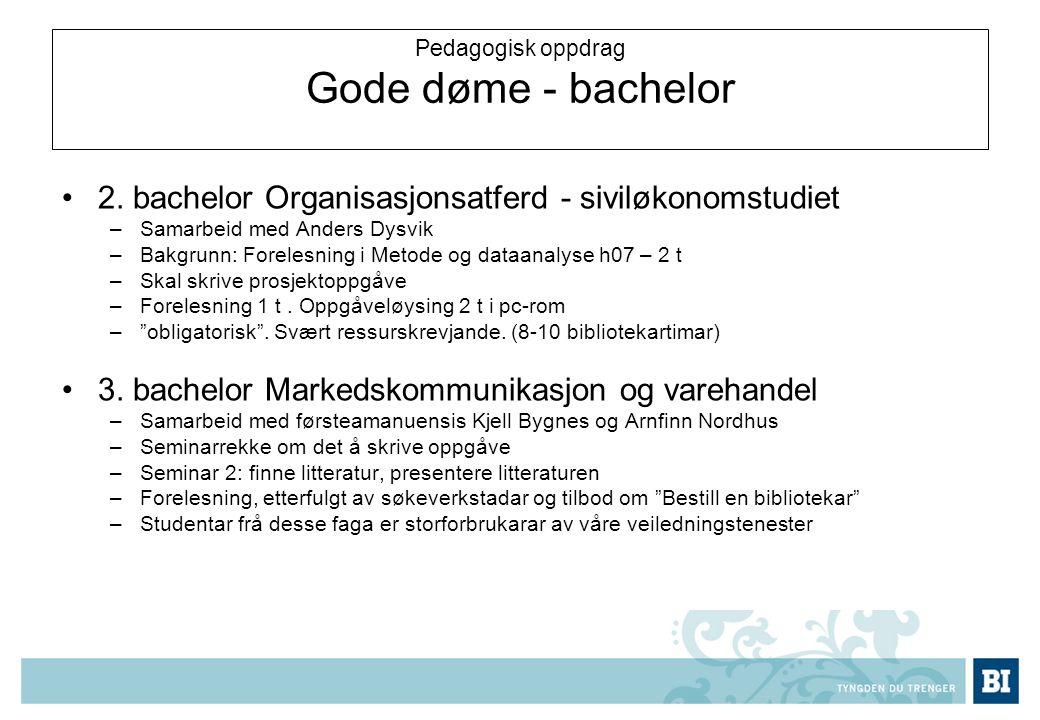 Pedagogisk oppdrag Gode døme - bachelor 2.