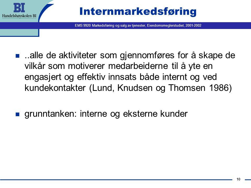 EMS 9920 Markedsføring og salg av tjenester, Eiendomsmeglerstudiet, 2001-2002 9 Potensielle årsaker for sviktende tjenestekvalitet Opplever kundene at tjenesten møter eller overgår deres forventninger.